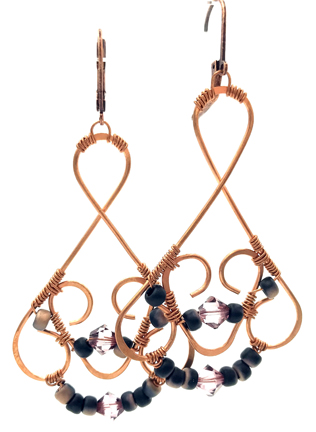 Glitzy Earrings** by Corey Milliren ©2019 Class Taught Exclusively at Bead Jungle in Henderson Nevada, Wire work, Beads, Czech Glass, Swarovski Crystal, Copper wire, Copper Findings