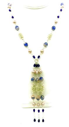 Avalon Necklace by Corey Milliren ©2019 Class Taught Exclusively at Bead Jungle in Henderson Nevada, Wire work, Beads, Czech Glass, Swarovski Pearl, Silver wire, Silver Findings