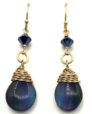 Cerulean Earrings by Corey Milliren ©2021 Gold Wire, Czech Beads, Swarovski bicone beads, Wire Work, Wire Wrapping, Wire Weaving