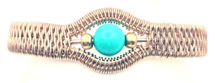 Commodore Bracelet by Corey Milliren ©2021 Copper Wire, Gemstone Bead, Wire Work, Wire Wrapping, Wire Weaving, Custom clasp