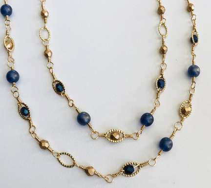 Connected Necklace by Corey Milliren © 2019 Class, Gold Plated Chain, Gold Plated Wire, Czech Beads, Fire Polish Beads