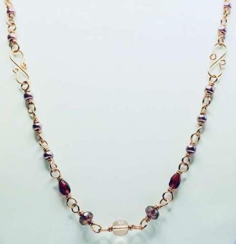 Garland Necklace by Corey Milliren, Wire Work, Seed Beads, Czech Glass Beads, Copper, Hand Made Findings