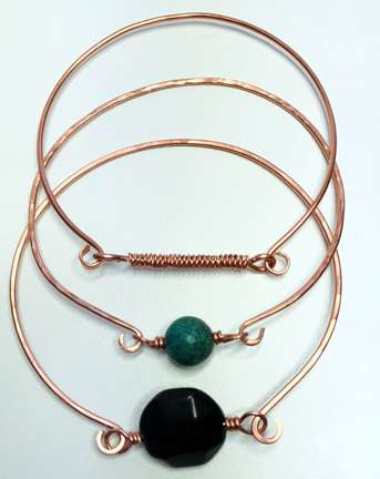 Hammered and Curled Bangles, an original design by Corey Milliren All Rights Reserved, Wire Work, Twisted Wire, Copper wire, Copper Findings
