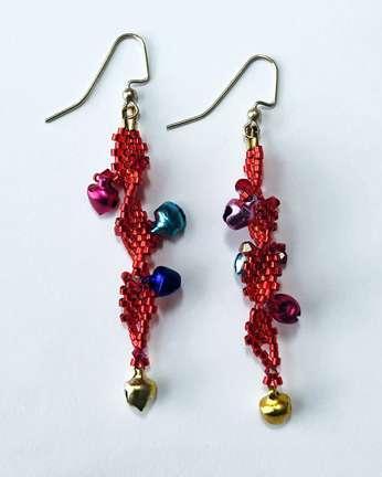 Jingle Bells by Valerie Catallozzi©2020, Spiral Brick Stitch, Bells, Holiday Gift, Wine Charm, Beadweaving Class