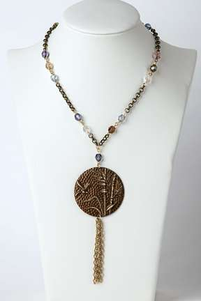 Opera Pendant Necklace by Kristina Paumen ©2021 Antique Brass Chain, Wire,Pendant,Czech Beads,Gold,Fringe,Gemstone,Ring