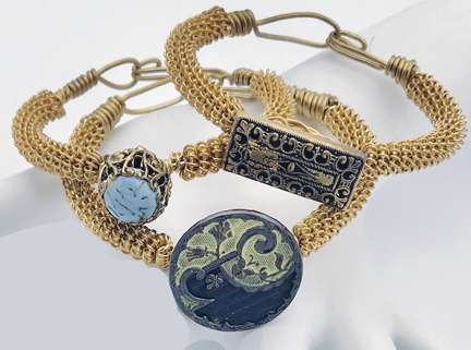 Radiant Bracelets by Corey Milliren ©2018 Class Taught Exclusively at Bead Jungle in Henderson Nevada, Wire work, Finding, Links, Beads, Gemstones, Seed beads, Glass Beads, Silver, Wire wrap, Coiling, Antique Buttons