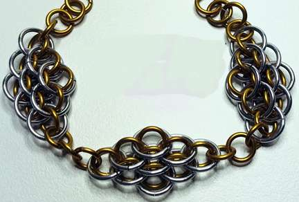 Small Scale Bracelet by Corey Milliren ©2020, Chain Mail, Aluminum Jump Rings, Silver Findings