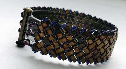 Super Tila Cuff Bracelet by Valerie Catallozzi©2021, Herringbone stitch, Half Tila beads, Bead Weaving class