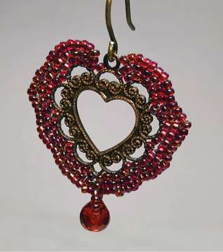 Victorian Heart by Valerie Catallozzi©2020, Bead Stitch, Bead Embroidery Stitch, Charm, Bead Weaving Class