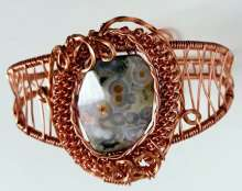 All Over It Cuff*** by Corey Milliren ©2020 Wire, Gemstones, Wire Wrapped, Wire Weave, Twisted Wire, Coiled Wire