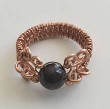 Cardinal Ring by Corey Milliren ©2019, Gemstone Bead,Copper Wire class