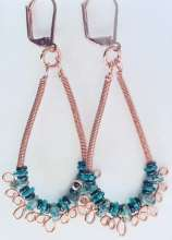 Evergreen Earrings by Corey Milliren ©2020 Copper Wire, Demi Rounds, Super Duos, , Wire Wrapped, Copper Findings