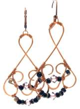 Glitzy Earrings by Corey Milliren ©2019 Class Taught Exclusively at Bead Jungle in Henderson Nevada, Wire work, Beads, Czech Glass, Swarovski Crystal, Copper wire, Copper Findings