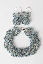 Tangled Up In Blue Bracelet & Earrings, Seed Beads, Jump Rings.