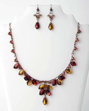 Autumn Leaves, Fire Polish, Wire, Seed Beads, Chain