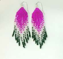 Fringed by Valerie Catallozzi©2020, Bead Stitch, Bead Weaving Class, Brick Stitch, Fringe Earrings, Holiday Gift